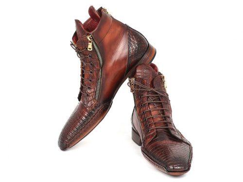 Paul Parkman Genuine Crocodile & Calfskin Handmade Zipper Boots (ID#88CPK92)