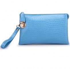 Alligator PU Leather Shoulder Bag Purse Handbags by Gracese – Blue