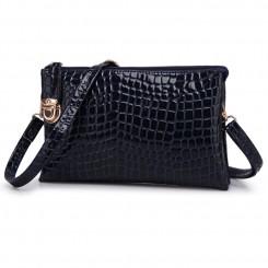 Alligator PU Leather Shoulder Bag Purse Handbags by Gracese – Black
