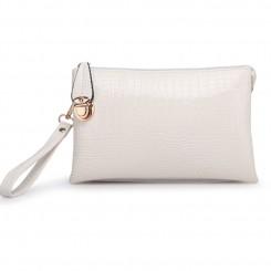 Alligator PU Leather Shoulder Bag Purse Handbags by Gracese – White