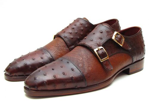Paul Parkman Brown & Tobacco Genuine Ostrich Double Monkstraps