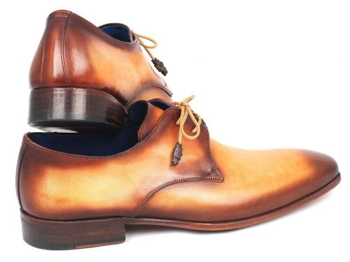 Paul Parkman Brown & Camel Hand-Painted Derby Shoes (ID#326-CML)
