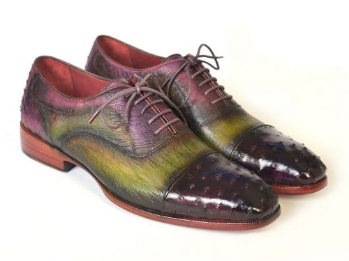 Paul Parkman Men's Genuine Ostrich Captoe Oxfords Green & Purple (ID#24XS11)