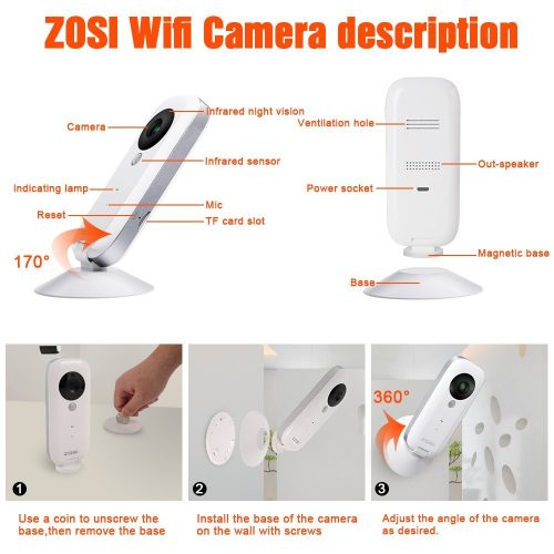 ZOSI i2 Mini IP Camera,1280*720P Home Surveillance Camera wireless Camera Built In Microphone WiFi Camera, Baby Video Monitor,PIR+Motion,30ft night vision, Motion Detection with 32G SD Card