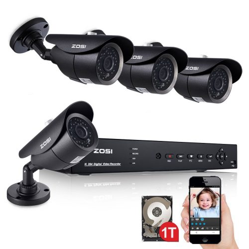 ZOSI 8Channel 960H Video CCTV Security HDMI DVR 4x 960H 1000TVL Color Waterproof Outdoor Camera Surveillance System 1TB HD Hard Drive Support Mobile phone QR Code Scan Quick Access