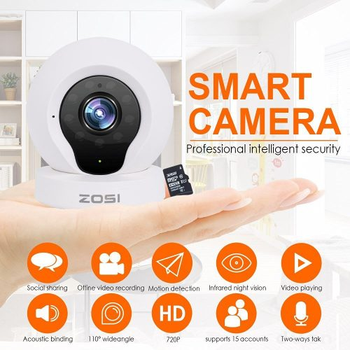 ZOSI Q2 Wireless Camera Video Monitoring IP/Network Camera Surveillance/Security Camera Baby Monitor with 720p HD Quality, 100 degree View, Night Vision