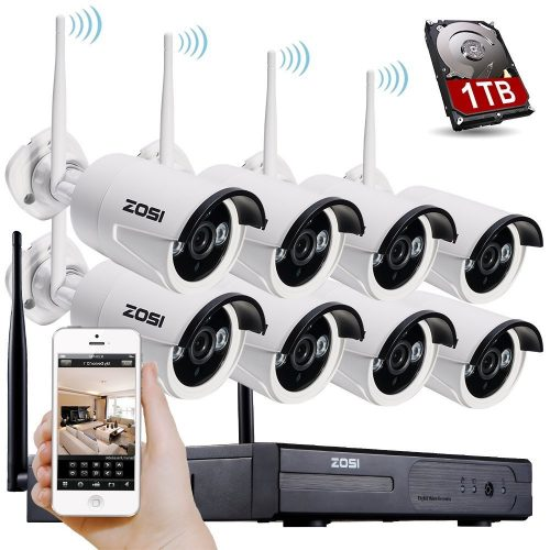 ZOSI 8CH 960P HD WI-FI NVR Security Wireless Network System With 720P 1.0MP Night Vision IP Surveillance Camera Kit CCTV Security System with 1TB Hard Disk & Smartphone Scan QR Code