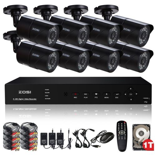 ZOSI CCTV Surveillance System H.264 8CH 960H DVR 1TB HDD with 8 1000TVL 30m Night Vision 3.6mm Lens Security Bullet Cameras HD Home Security Kits Easy access to PC and Smartphone