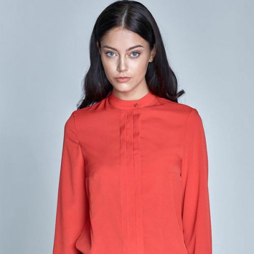 Long Sleeves Stand-up Collar Blouse