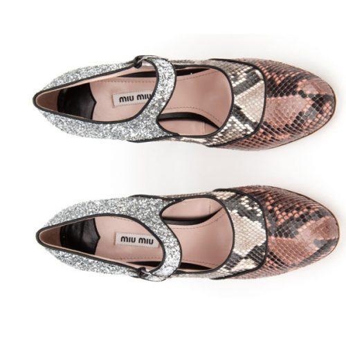 Miu Miu heels Mary Jane in Python and silver glitter,Mod. 5I076A 3L00 F0D61