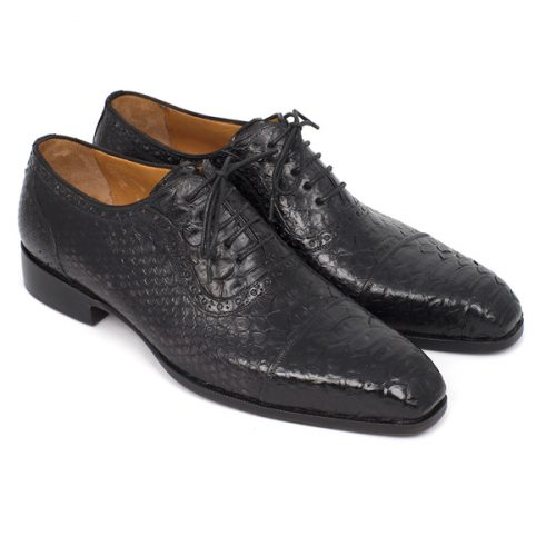Paul Parkman Black Genuine Python Captoe Oxfords