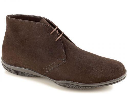Prada men's desert boots in Dark Brown Suede leather, Mod. 4T2107 4G5 F0003
