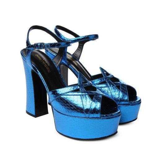 Saint Laurent – heels sandals in Bright Blue elaphe skin, Mod. 385154 LFN00 4617