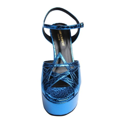 Saint Laurent – heels sandals in Bright Blue elaphe skin, Mod. 385154 LFN00 4617