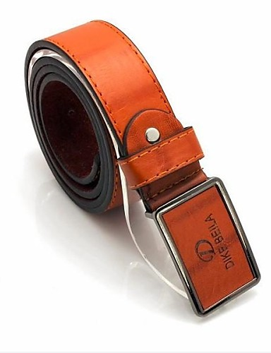 Men's White/Black/Brown Metal Buckle Faux Leather Belt Jewelry #01055026