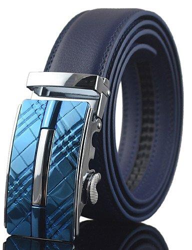 Men Blue Automatic Buckle Genuine Leather Wide Belt Waist Strap,Work / Casual