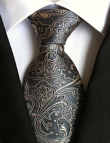 Men Wedding Cocktail Necktie At Work Gray Yellow Tie #04576863