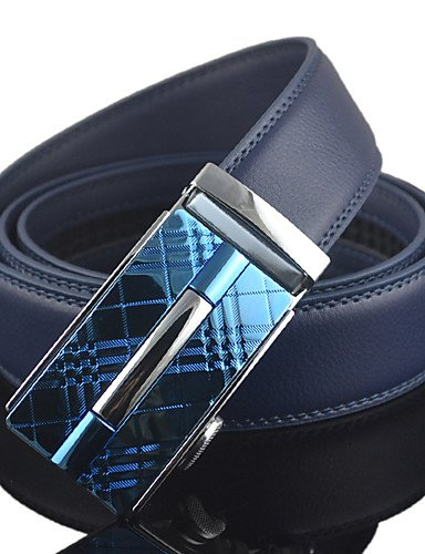 Men Blue Automatic Buckle Genuine Leather Wide Belt Waist Strap,Work / Casual