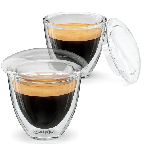 Alpha Coffee Espresso Cups. Demitasse Shot Glasses With Lids. Made From Double Wall Borosilicate. Set Of 2
