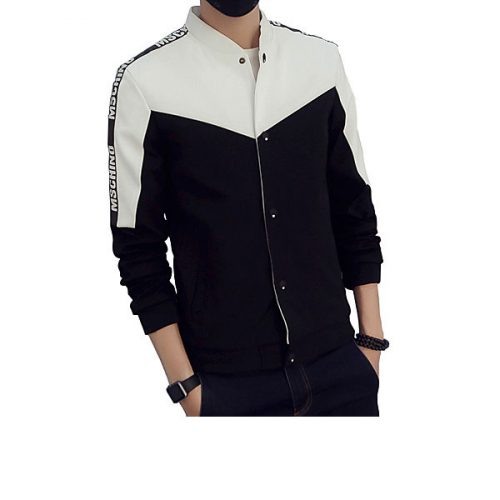 Men's Long Sleeve Casual / Work / Formal / Sport / Plus Sizes Jacket,Cotton / Polyester Patchwork Black / Blue / White #05106754