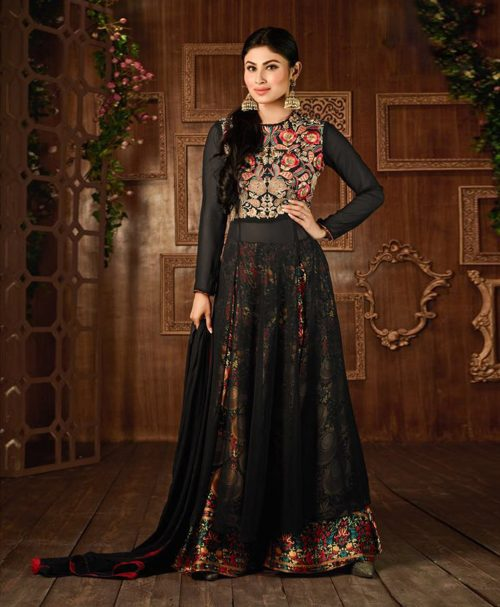 Mouni Roy Black Semi Georgette Palazzo Style Suit 76531