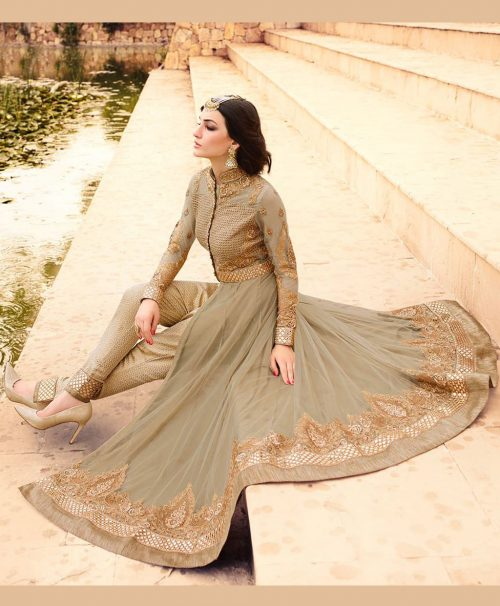 Beige Net Ankle Length Anarkali Suit 77577