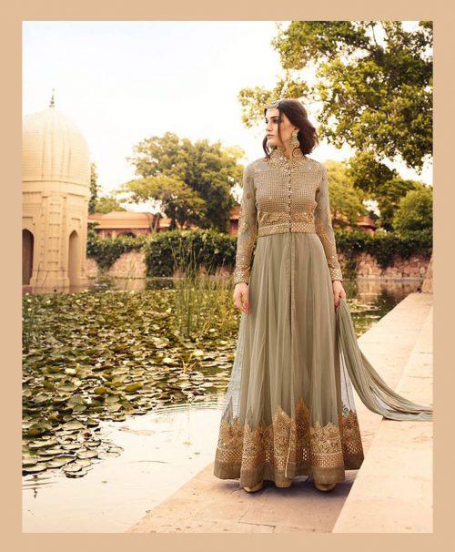 Beige Net Ankle Length Anarkali Suit 77577