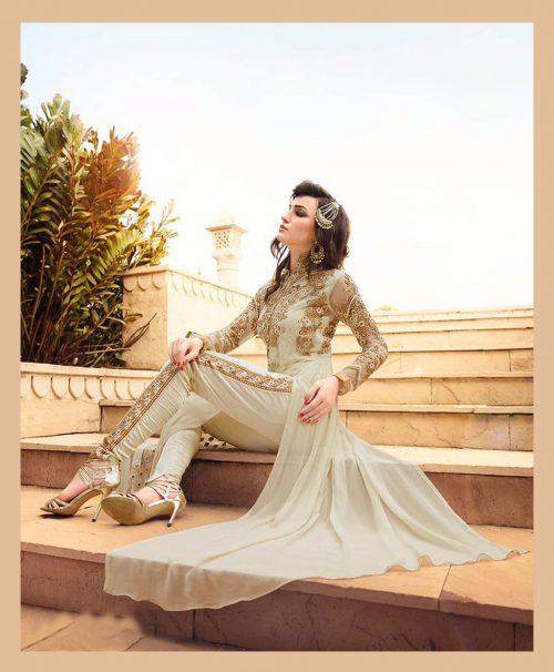 Off White Georgette Designer Salwar Kameez 77579