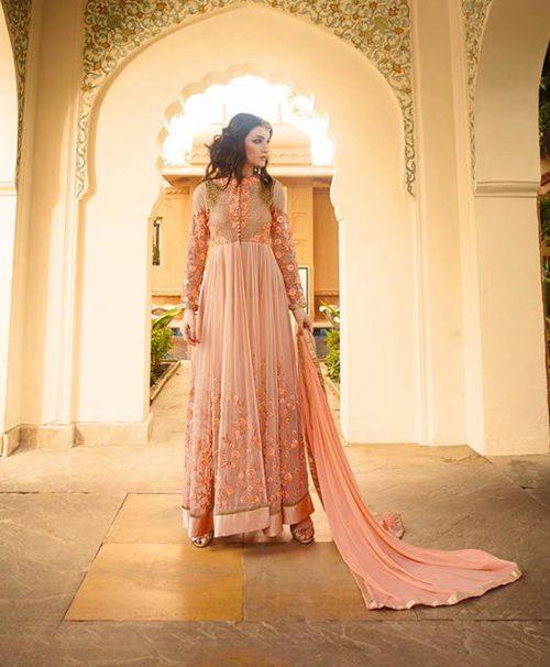 Peach Georgette Ankle Length Anarkali Salwar Kameez 77580