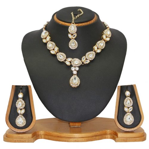 hite Alloy Austrian Diamonds Necklace With Earrings and Maangtikka 66092