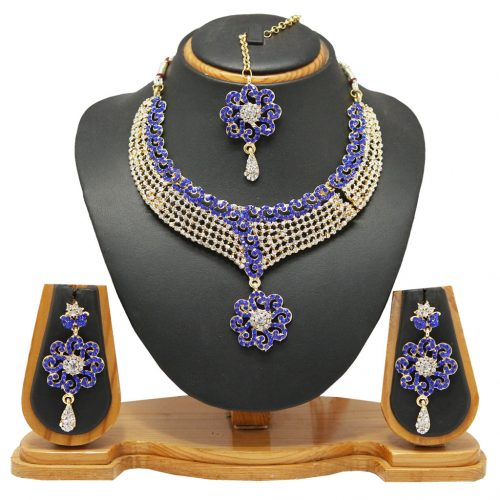 Blue Zinc Austrian Diamonds Necklace With Earrings and Maangtikka 66104