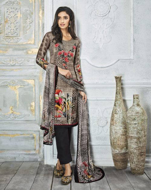Gray Pashmina Pakistani Style Suit 78078
