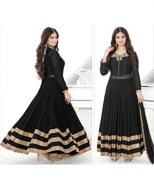 Ayesha Takia Black Georgette Ankle Length Anarkali Suit 78054