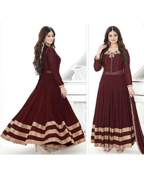 Ayesha Takia Maroon Georgette Ankle Length Anarkali Suit 78055