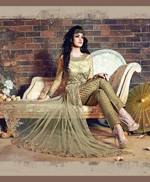 Green Net Pant Style Salwar Kameez 78062