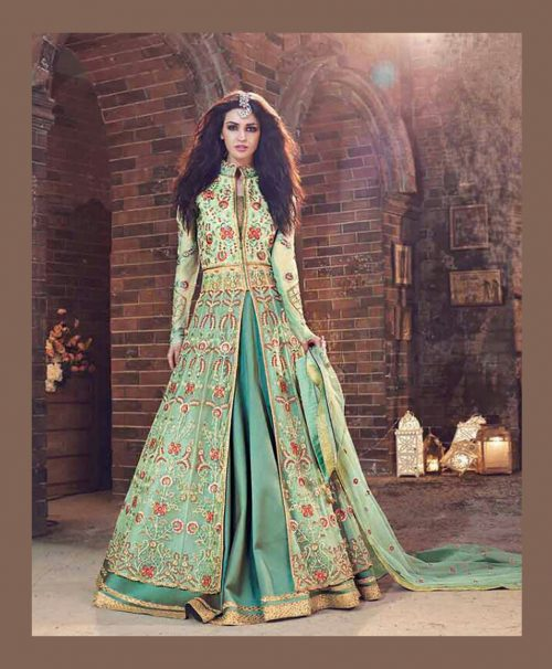 Green Georgette Indo Western Lehenga Choli 78065