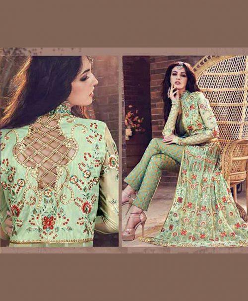 Green Georgette Designer Suit 78066