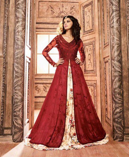 Red Banarasi Silk Indo Western Lehenga Choli 78031