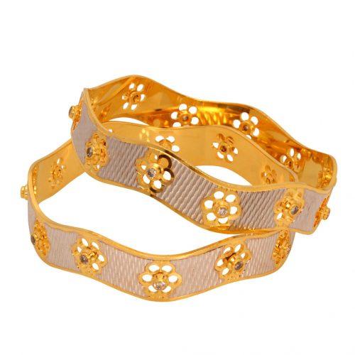 Golden Brass Cz Diamond Studded Bangle 33298