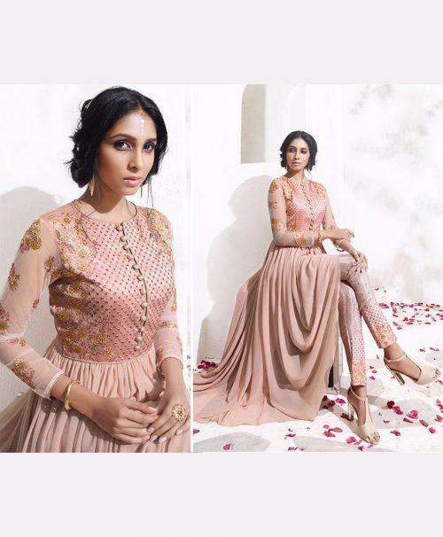 Peach Georgette Designer Anarkali Suit 78038