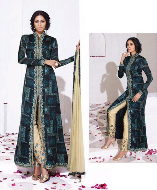 Blue Satin Georgette Pakistani Style Suit 78039