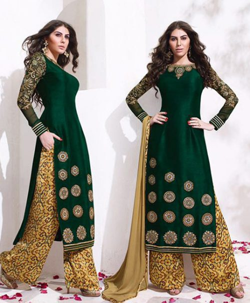 Green Raw Silk Palazzo Style Suit 78042