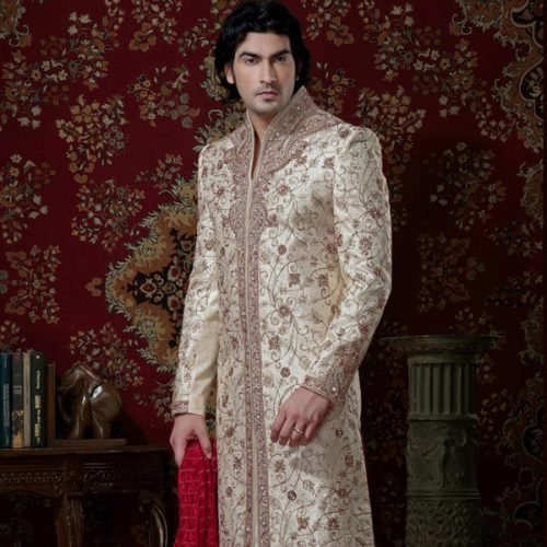 Off White Floral Patch Work Party Wear Sherwani 41069