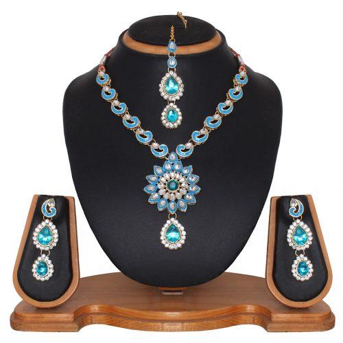 Sky Blue Alloy Austrian Diamonds Necklace With Earrings and Maangtikka 68943