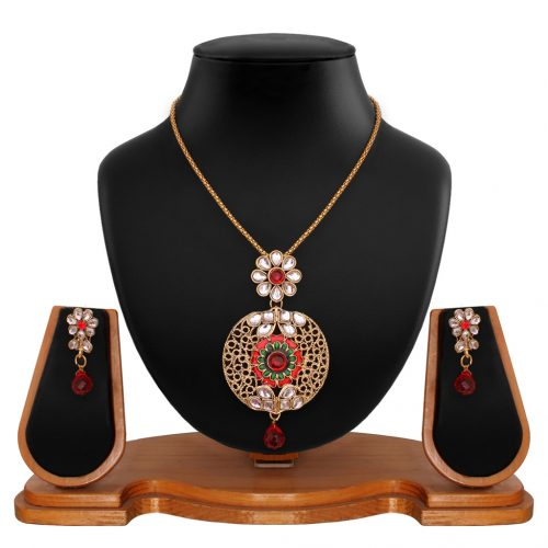Maroon Brass Kundan Necklace With Earrings 66748