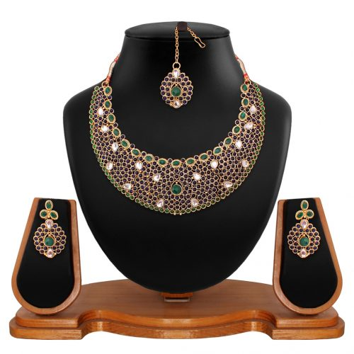 Green Brass Kundan Necklace With Earrings and Maangtikka 66750