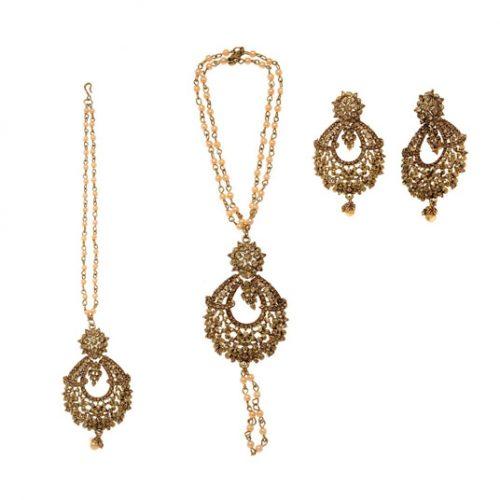 Golden Copper Pearl Bridal Accessories 74057