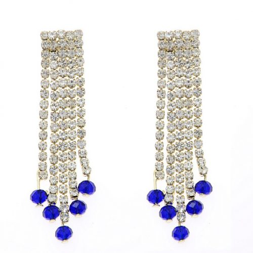 Blue Alloy Diamond Earrings 74059