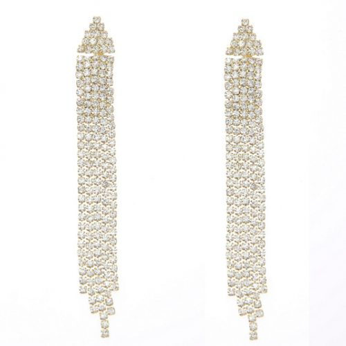 Golden Alloy Diamond Earrings 74063