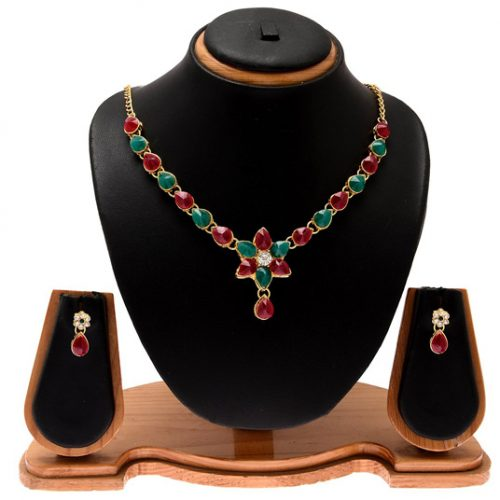Green Alloy Austrian Diamonds Necklace With Earrings 74064